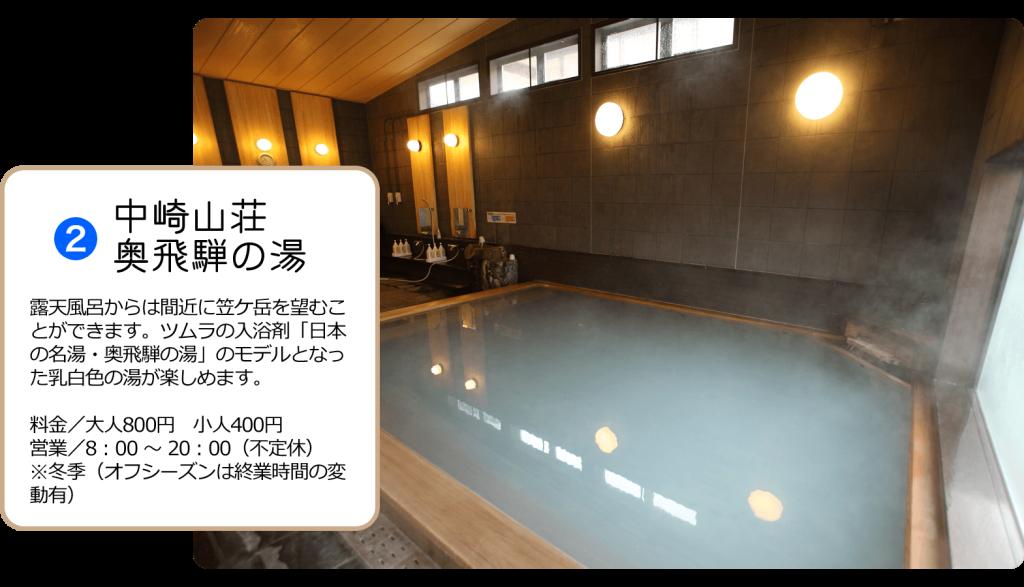 露天風呂からは間近に笠ケ岳を望むことができます。ツムラの入浴剤「日本の名湯・奥飛騨の湯」のモデルとなった乳白色の湯が楽しめます。 料金/大人800円 小人400円 営業/8:00 ~ 20:00(不定休) ※冬季(オフシーズンは終業時間の変動有)